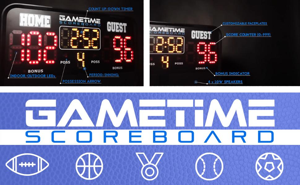 Gametime Multisport Portable Indoor//Outdoor Scoreboard /& Audio Player