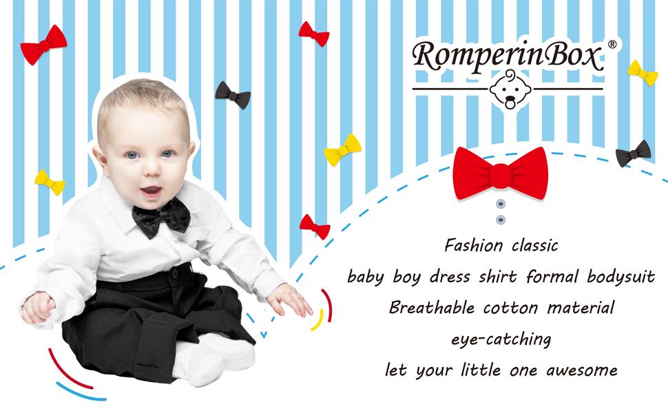 RomperinBox Baby Boy Formal Dress Shirt Bodysuit