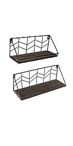 brown floating shelf set of 2