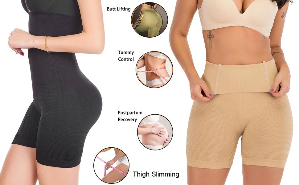 FLORATA Womens Hi-Waist Body Shaper Butt Lifter Shapewear Trainer Tummy Control Panties Seamless Thigh Slimmers Cincher