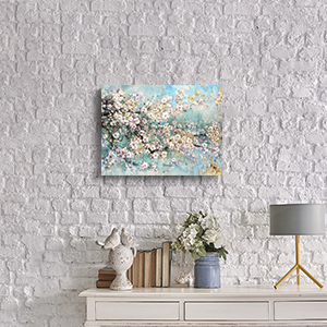 Abstract Wall Art Flower Picture: Dogwood Bloom Painting Artwork Print on Canvas for Bedroom