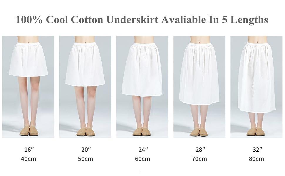 BEAUTELICATE Damen Unterrock 100/% Baumwolle mit R/üschenrand Petticoat Crinoline Vintage Kurz Lang Underskirt Antistatisch S 75CM Wei/ß