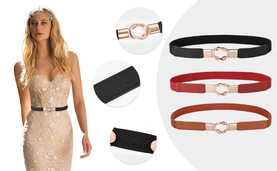 Damen Lange Schließe Schnalle Strecken Gürtel Elastische Taillengürtel Mode