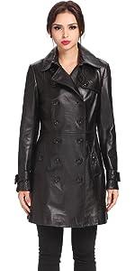 BGSD Women's Ginger New Zealand Lambskin Leather Coat