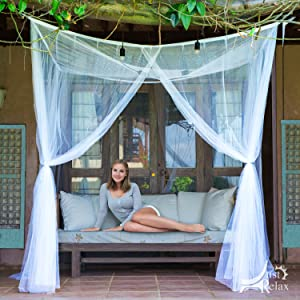 Just Relax Four Corner Post Elegant Mosquito Net Bed Canopy Set Queen and King Bed Sizes Black Fits Full Can Be Used with Or Without Four-Post Bed