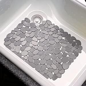 2Pcs Sink Mat Adjustable Sink Saddle PVC Material Modern Design Dish Drying Mat for Kitchen