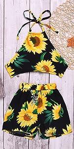 Sunflower Halter Top Shorts Set