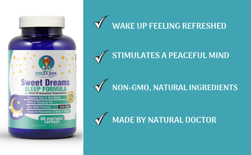 sweet dreams sleep supplement GABA 5-HTP melatonin