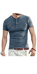 Aiyino Mens Casual Slim Fit Short Sleeve Henley T-Shirts
