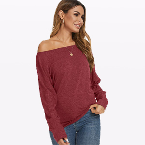 Women's Off The Shoulder Long Sleeve Casual T Shirt Blouse Sexy Tunic Top