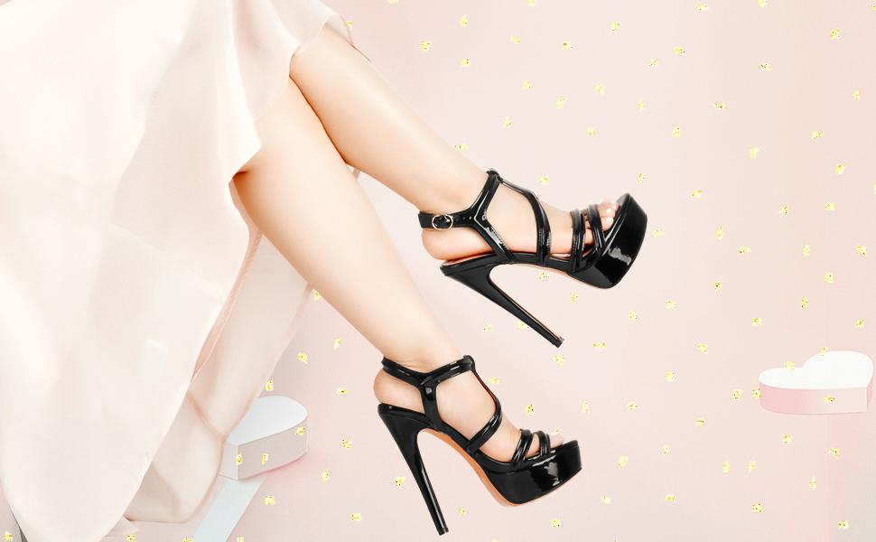 Yolkomo strappy platform heels, highlight your legs!