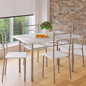 Casaria Ensemble 5 pi/èces Berlin Noir 1 Table 4 chaises MDF m/étal laqu/é Cuisine Ensemble Table et chaises pour Salle /à Manger