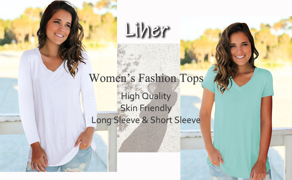 Womens Tops V Neck Tee Casual Short Sleeve and Long Sleeve T Shirts