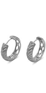 CZ Huggie Hoop Earrings Cubic Zirconia Fashion Jewelry For Women Stanless Steel Silver