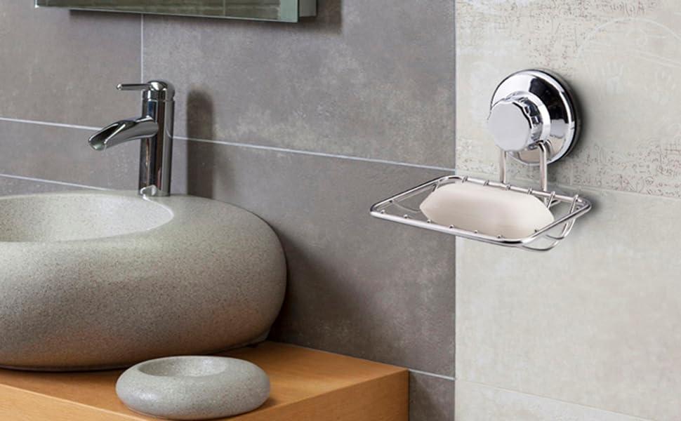 Dusche Sp/ülbecken K/üche Aufbewahrung von Badezimmer-Kugeln Seifenbox f/ür Bad Seifenhalter in V-Form Blau WAZA Seifenschale mit Saugnapf in Blattform