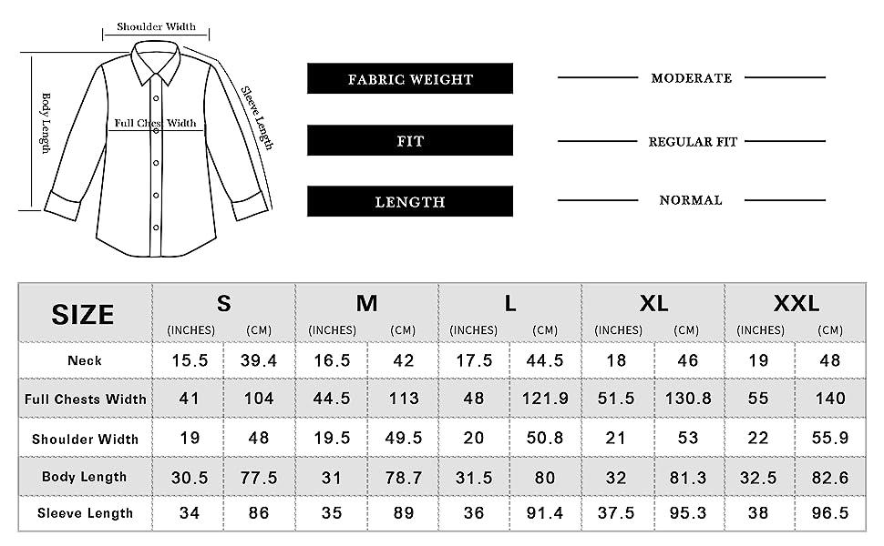 Regular fir dress shirts for men casual long sleeve