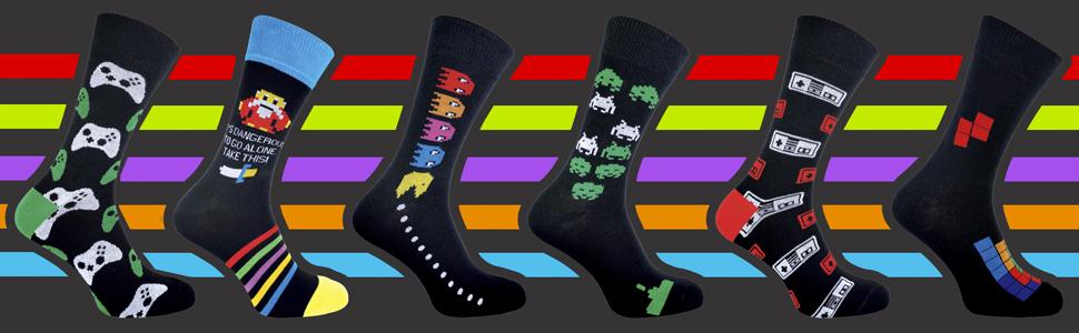 3 pares Calcet/ín Snob Calcetines de videojuegos de novedad funky para juegos retro para hombre 6-11