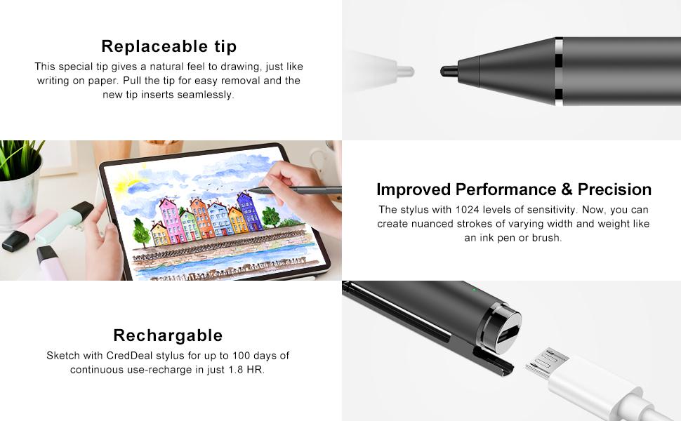 hacey Pen con Surface Stylus for Microsoft con Palm Rejection Pen con 1.024 Pressione Sensibilit/à Sostenere 500 Ore di Lavoro di 180 Giorni e AAAA Batteria for Surface PRO 7 6 5 4 3 Blu