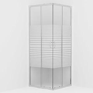 Festnight Mampara de Ducha con Vidrio de Seguridad 90 x 80 x 180 cm con Modernas Asas de Cromo Mampara de Ducha Fija