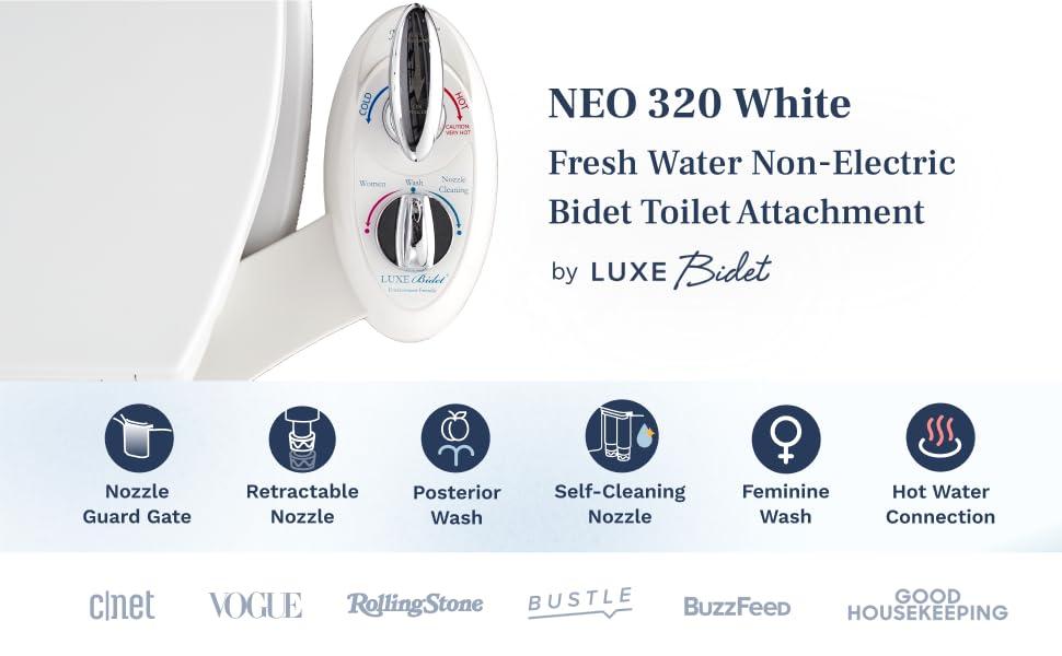 NEO 320 White - fresh water non-electric bidet toilet attachment by Luxe bidet