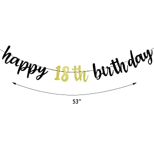 Happy Birthday Bunting Garland for Birthday Party Decorations Home Decor for Fireplace 18th Birthday Sign Party Supplies Cheers to 18 Years Old Decor WATINC 2pcs Happy 18th Birthday Burlap Banner