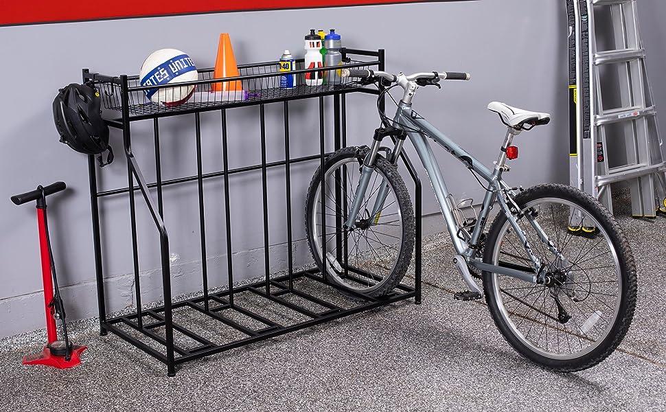 4 Bike Stand Rack with Storage, Metal Floor Bicycle Nook, Garage Organizer, bike stand, bike rack