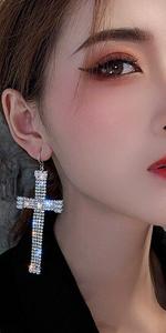 Crystal Cross Shaped Silver Tone Drop Dangle Statement Earrings