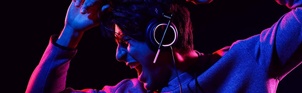 Wired Gaming Bass Over-Ear Headphones with Mic