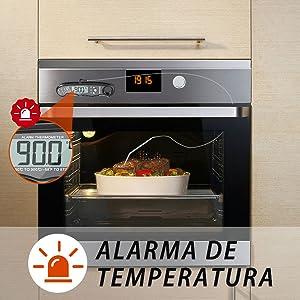 NIXIUKOL Termometro Cocina Digital Lectura Instantánea Alarma Retroiluminación Grande Pantalla LCD Espalda Magnética, Termometro Horno para Barbacoa ...