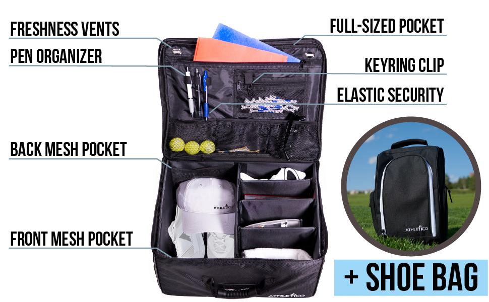 Athletico Golf Trunk Organizer - Larger Interior, pockets, organizer, divider, + shoe Bag