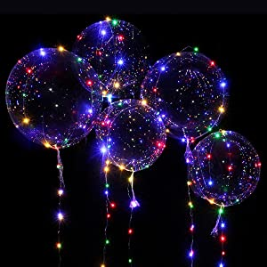 led balloons light up colors bubble clear string glow fancy decoration birthday helium