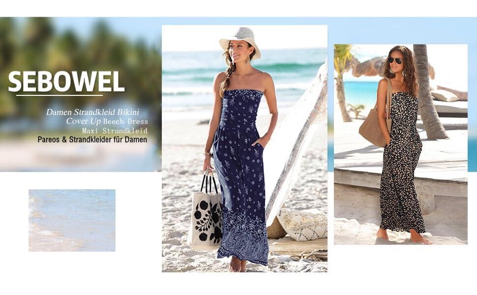 Damen Sommer Cover up Bikini Maxi Strandkleid