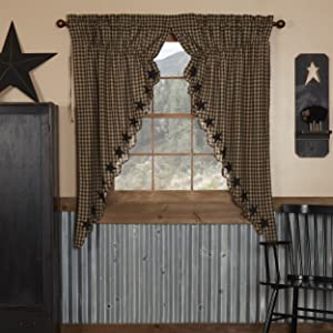 Black Star Curtain primitive country rustic Americana VHC Brands window prairie panel swag valance