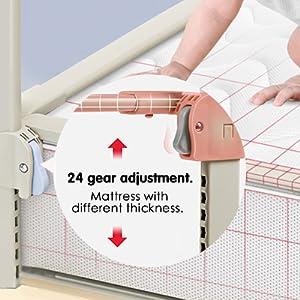 72 cm Barandilla de Elevaci/ón Vertical Altura Ajustable Doble Interruptor para Evitar la Apertura Accidental para Beb/é S SMAUTOP Barrera de Cama 120 Ni/ños