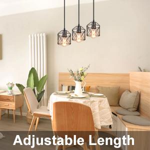adjustable length Industrial 3-Light Pendant Light