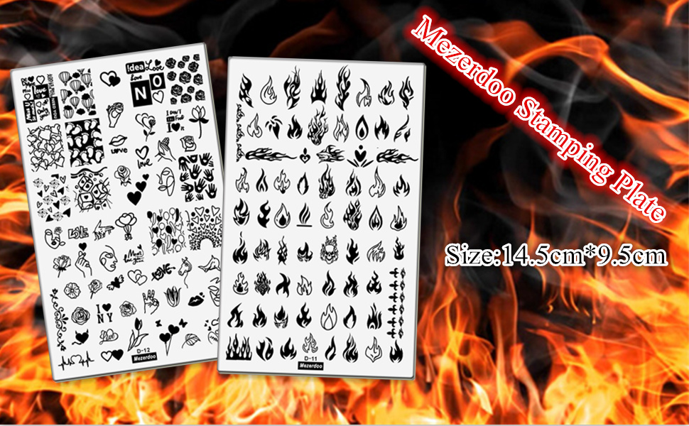 2pcs Large Size Nail Art Image Stamp Stamping Plates Fire Heart Pattern Manicure Template