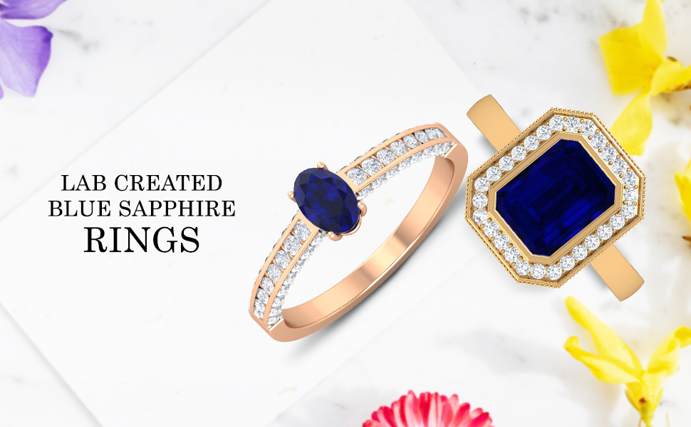 banner Lab Created Blue Sapphire Rings