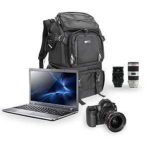 Evecase X-Largeプロフェッショナル多機能一眼レフカメラバックパックレインカバー付き