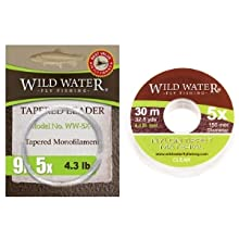 wild water fly fishing 9' 5X tapered monofilament leader and 5X nylon tippet