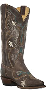 cowboy boot cowgirl leather western women square snip toe
