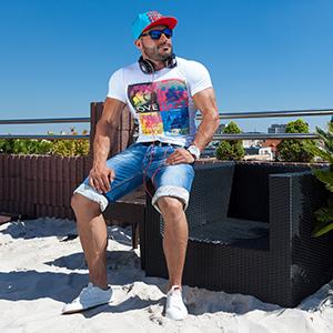 BOLF Pantaloncini Corti Estate Coulisse da Uomo Mix 7G7 Tessuto Stampa Comfort