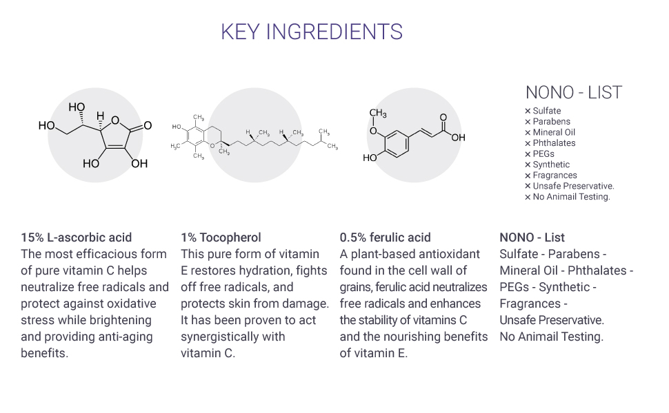 Vitamin C serum Vitamin E Ferulic Acid Hyaluronic acid