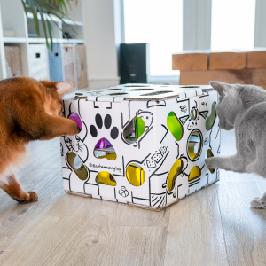 Sliders! Puzzle feeder cat puzzle box toy has a modern design and will keep cats busy for hours