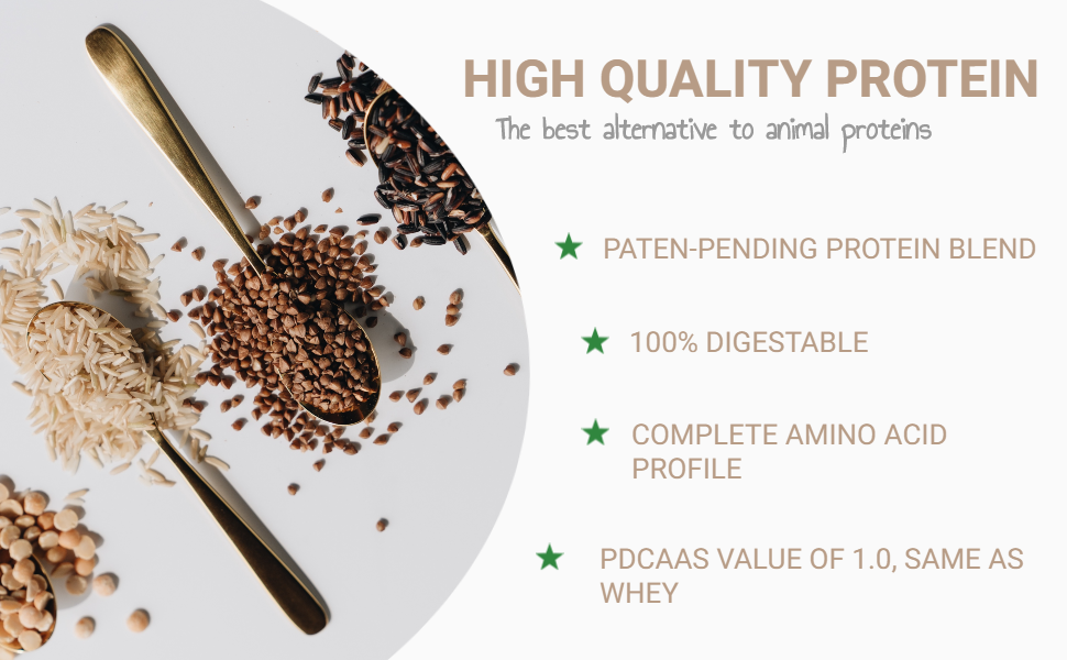 complete amino acid profile highly digestible Fava Mung Bean Pea Rice protein blend plant based