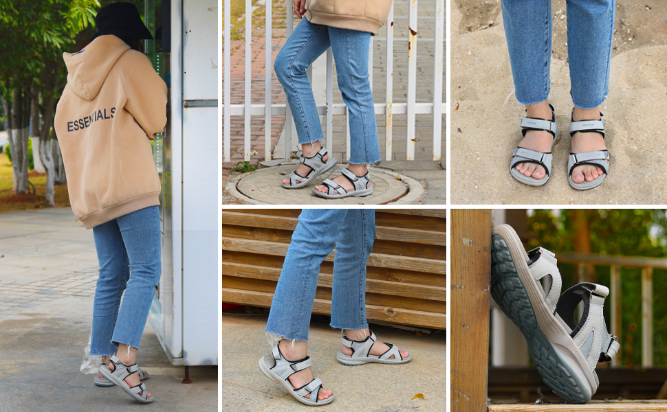 Trekkingsandalen Damen Sommer Frauen Wandersandalen Flach Offene Sandale Sportsandalen Leicht Schuhe