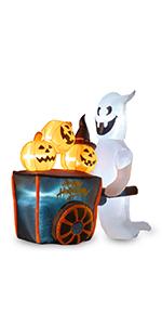 Inflatable Ghost Pushing Pumpkin Cart