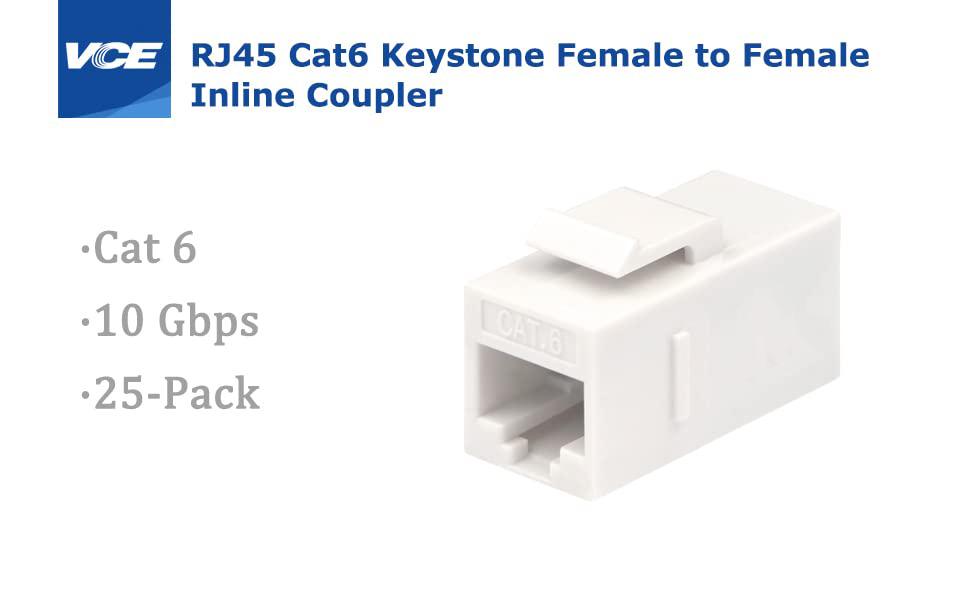 cat6 rj45 keystone jack coupler female to female