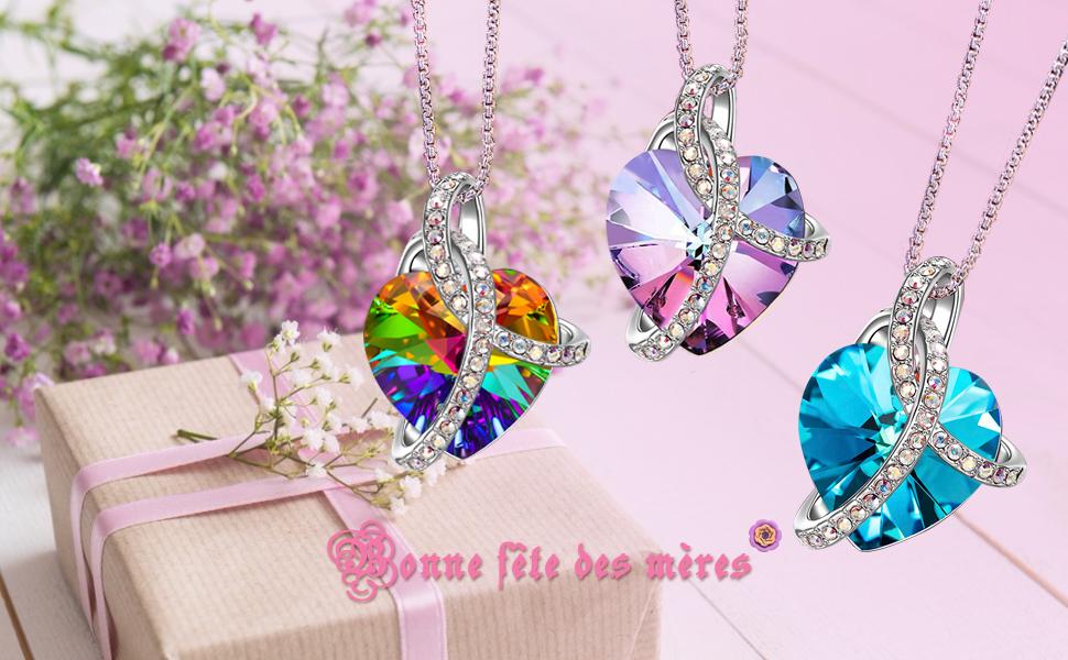 J./RENE/É Collier Femme Emballage de Bo/îte Cadeau E/él/égant Cadeau Femme Bijoux Femme avec Cristal de Swarovski Pendentif Coeur