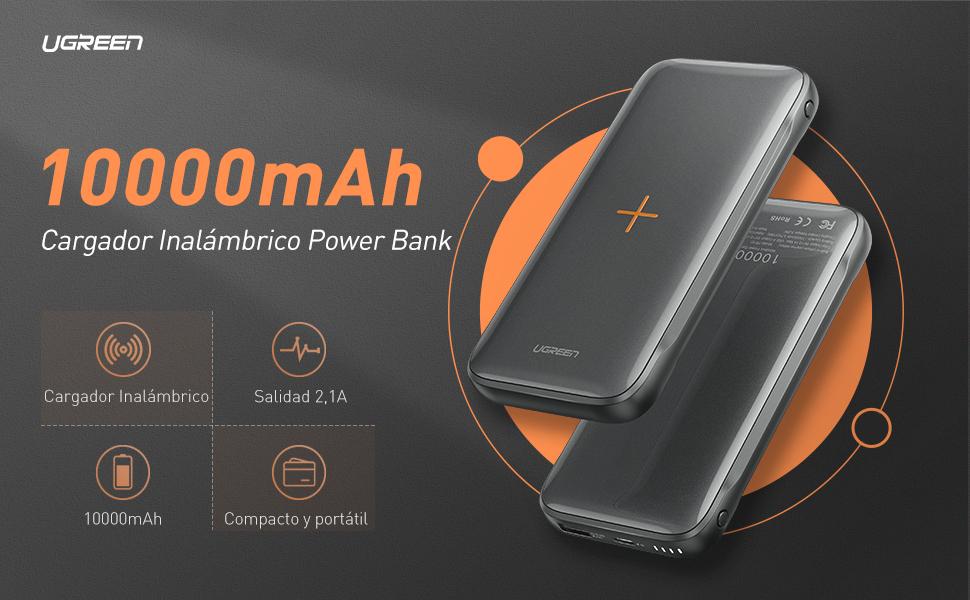 UGREEN Cargador Inalámbrico Rápido Batería Externa 10000mAh ...