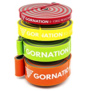 GORNATION® Bandas Elásticas de Resistencia & Ancla de Puerta - Incluye una Bolsa para Transportar - Nivel de Resistencia en KG sobre Las Bandas - ...